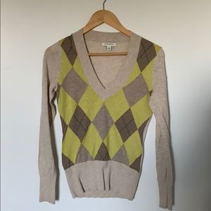 Banana Republic Argyle V neck Pullover